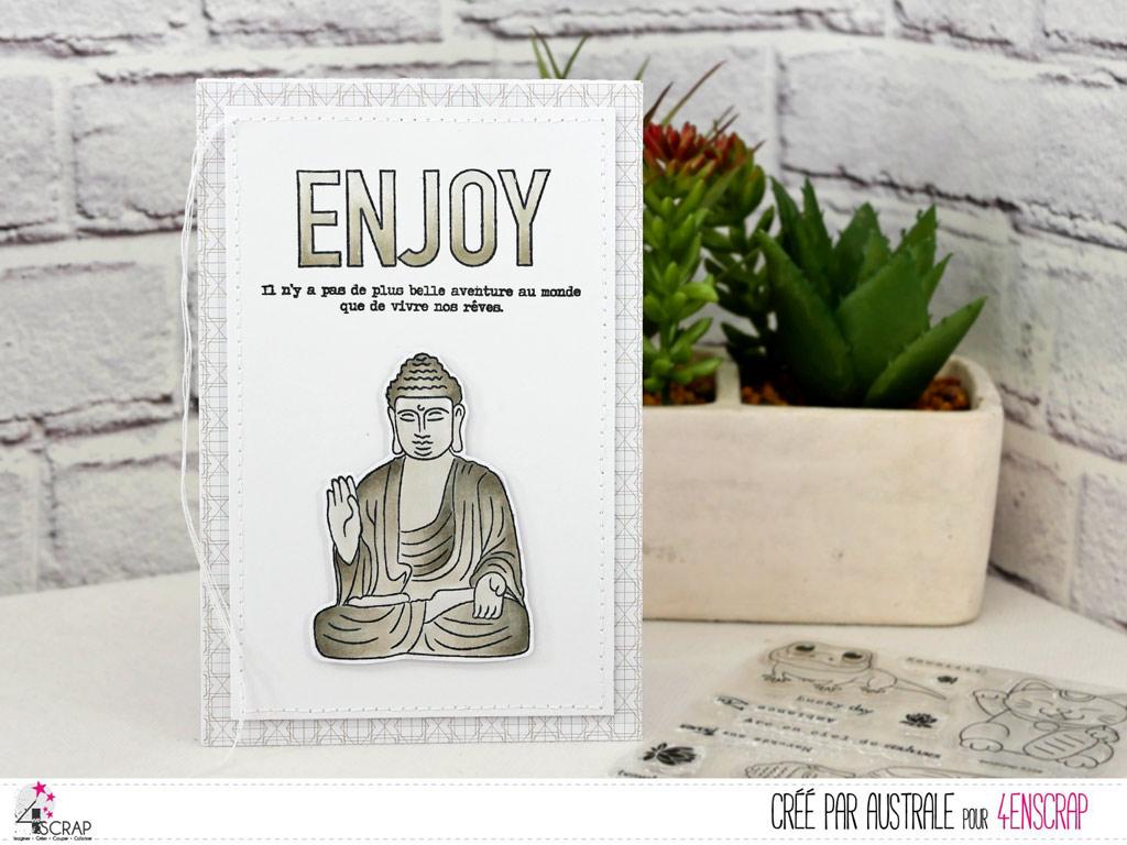 Carte pour toutes occasions avec un bouddha avec gros texte Enjoy.