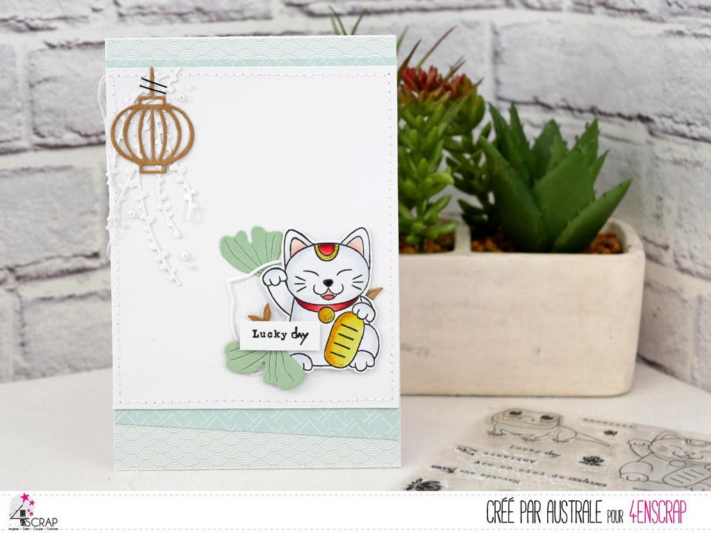 Carte d'anniversaire avec un adorable Lucky Cat, cadre, feuillages et lanterne japonaise.