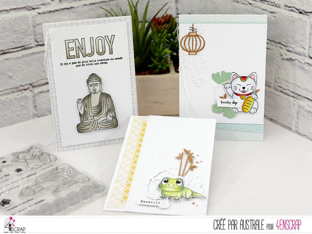 Carte Lucky cat, bouddha et gecko réalisées avec la collection été 2020 de 4enscrap.