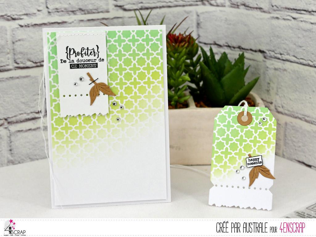 Carte et étiquette cadeau avec fond réalisé au pochoir oriental et encres distress oxide avec étiquette et feuillages.
