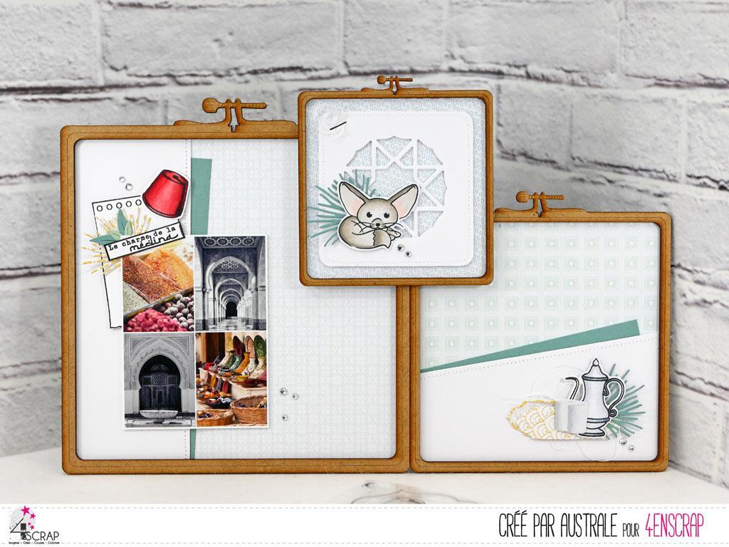Home déco composé de 3 carré à broder en bois et décoré sur le thème de la médina avec montage photo, chapeau, fenec et théière.