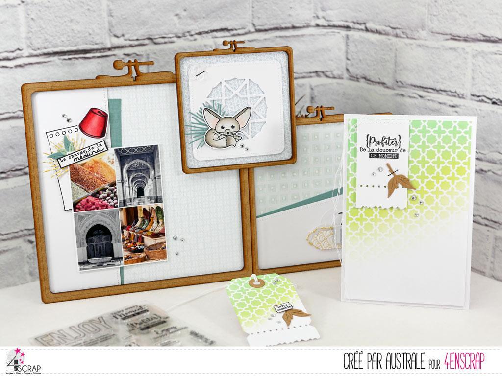 Home déco en bois, carte, étiquette cadeau sur le thème de l'orient et des vacances.