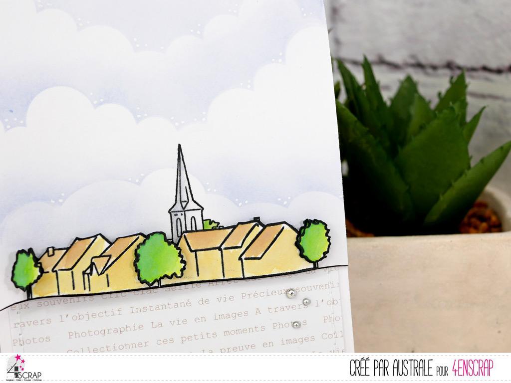 Carte 3 volets avec pochette et pour marque-page sur le thème de la campagne avec mise en couleur à l'encre Distress Oxide façon aquarelle.