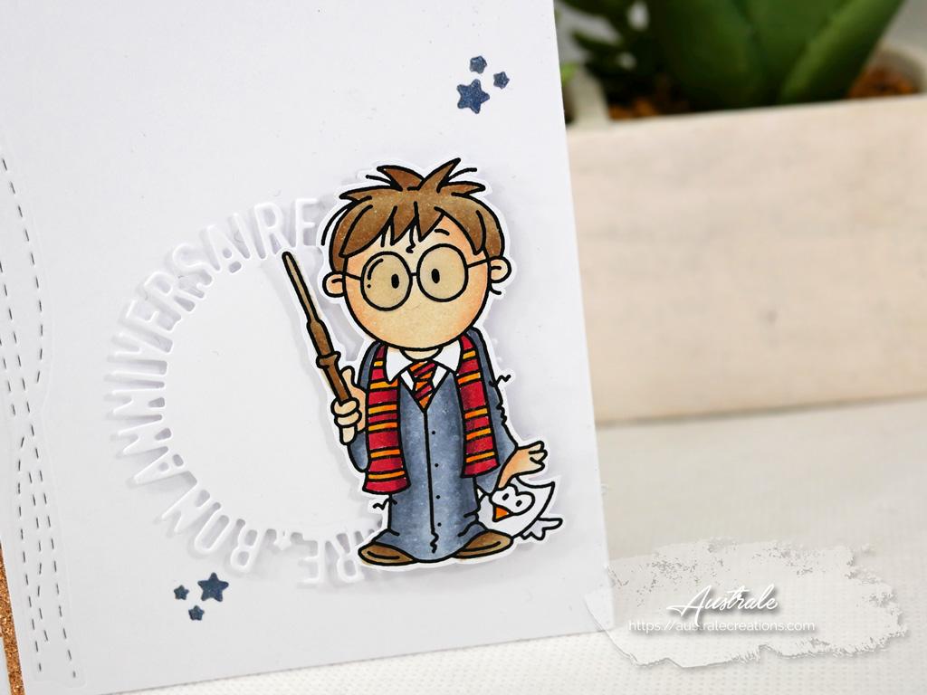 Carte d'anniversaire avec fond étoilé cuivré, Harry Potter et Edwige