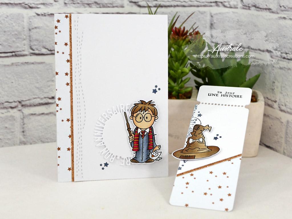 Carte d'anniversaire et marque-page sur le thème d'Harry Potter avec fond étoilé cuivré, Harry Potter, Edwige et le choixpeau magique