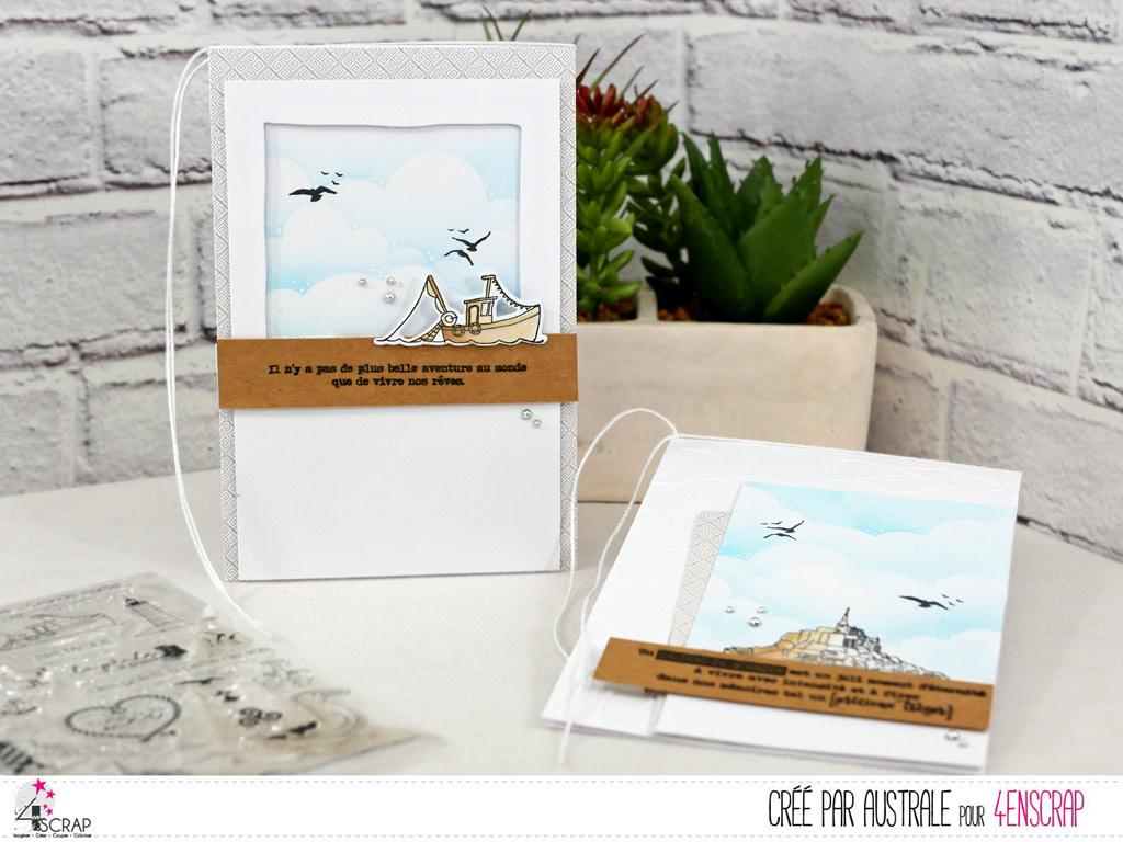 Duo de cartes sur le thème de la Bretagne avec le Mont Saint Michel et un petit chalutier, fond nuages à la distress oxide et mouettes.