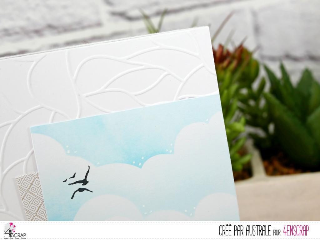 Carte sur le thème de la Bretagne avec le Mont Saint Michel , fond nuages à la distress oxide et mouettes.