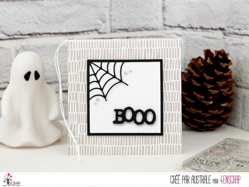 Carte d'halloween en gris et noir avec toile d'araignée, très clean and simple.