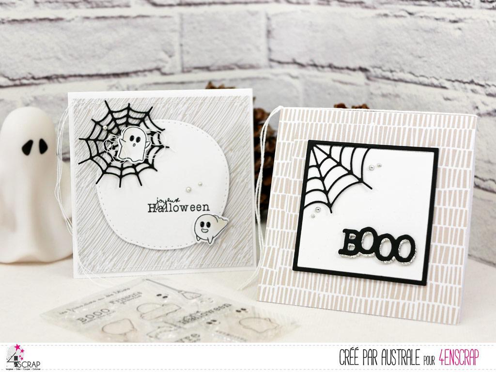 Cartes d'halloween en gris et noir avec toile d'araignée, petits fantomes sont fonds de papiers imprimés; très clean and simple.