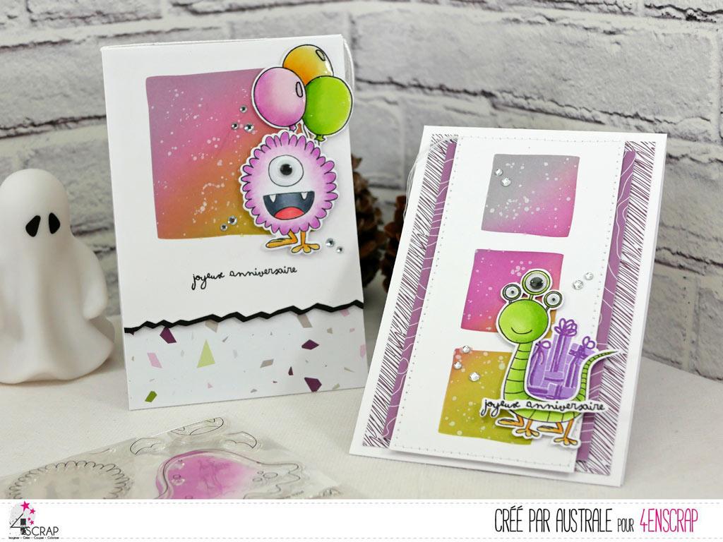 Carte d'anniversaire avec un adorable petit monstre et ses cadeaux sur un fond réalisé au pochoir et à la distress.