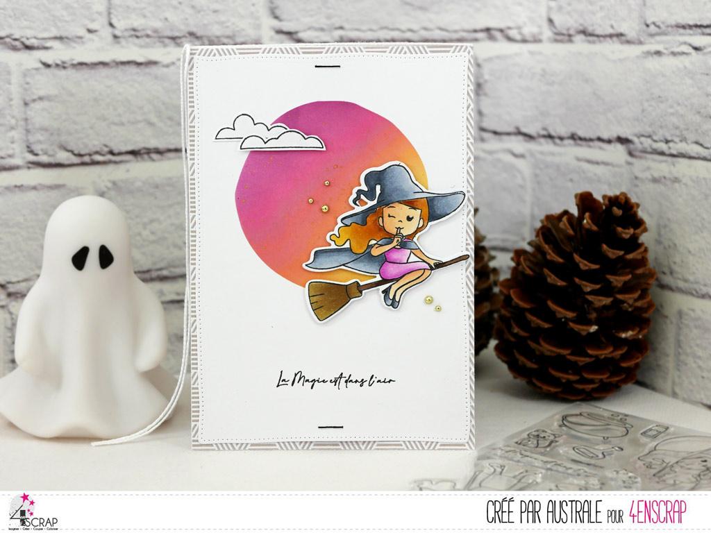 Carte d'halloween avec une adorable petite sorcière, sur un fond réalisé au pochoir et à la distress.