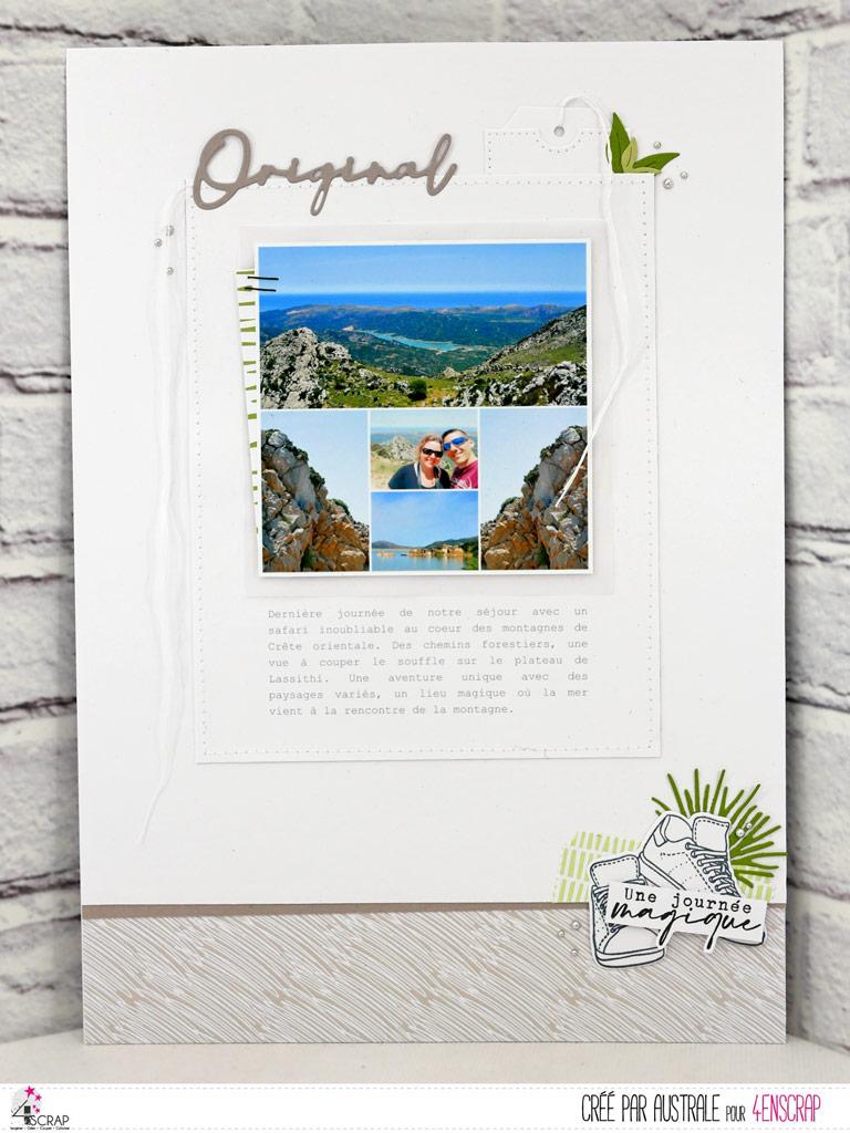 Page de vacances en Crête dans un combo en gris et vert, gros titre, baskets, journaling et feuillages.