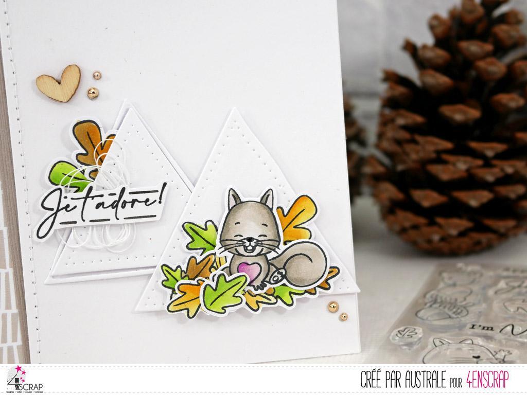 Carte d'amour ou d'amitié avec petit écureuil, triangles, feuillages en 4enscrap.