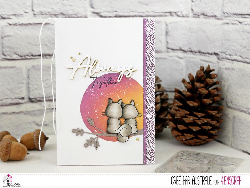 Carte d'amour avec fond réalisé au pochoir et à la Distress, couple d'écureuils et gros titre.