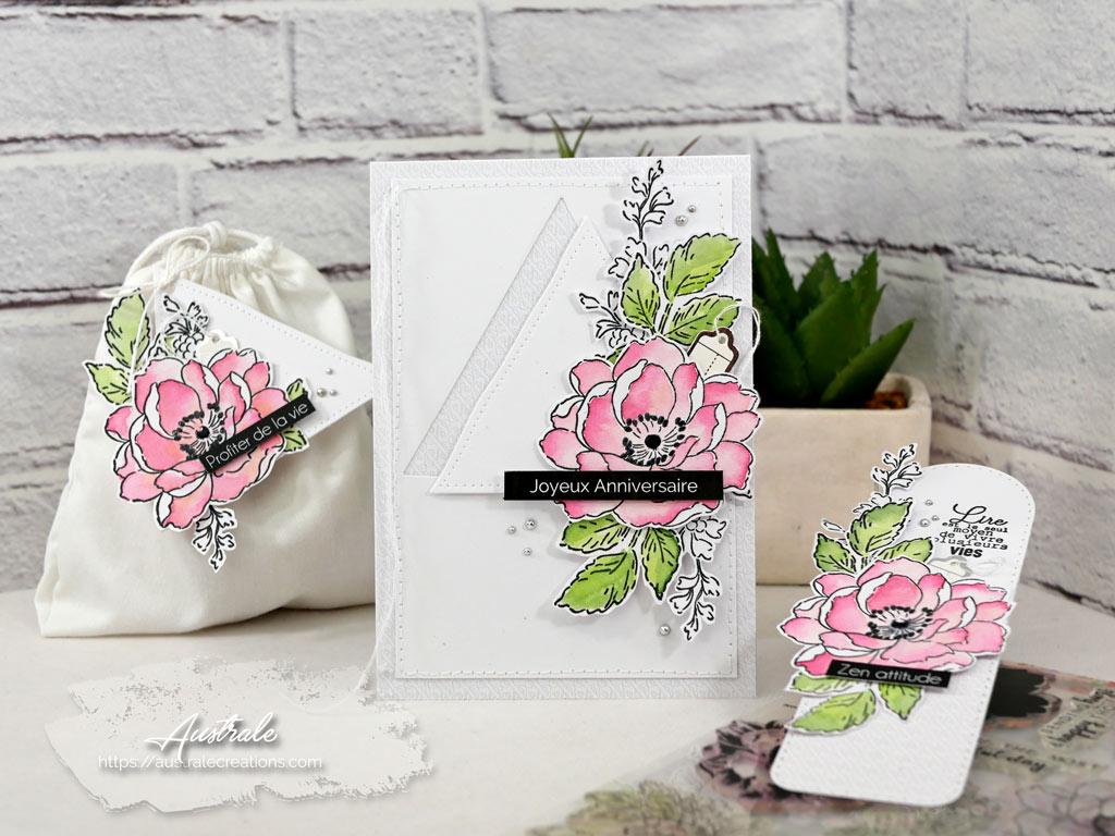 Carte, étiquette cadeau et marque page pour anniversaire en vert, rose et gris avec fleur Altenew et 4enscrap.