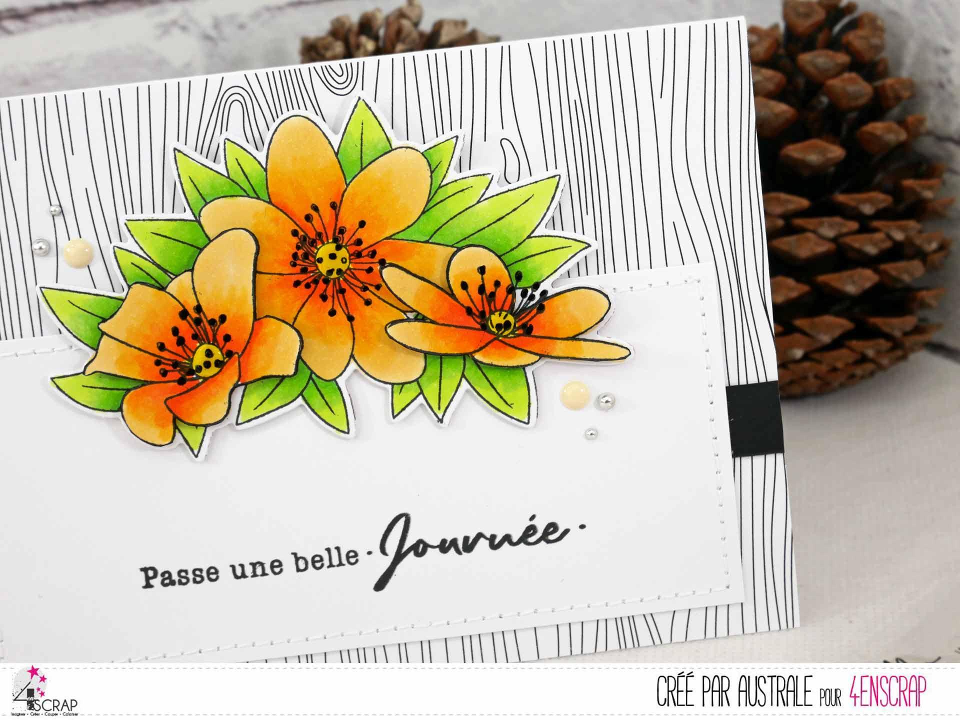 Carte d'anniversaire avec fond en noir et blanc avec un bouquet d'anémones en relief.