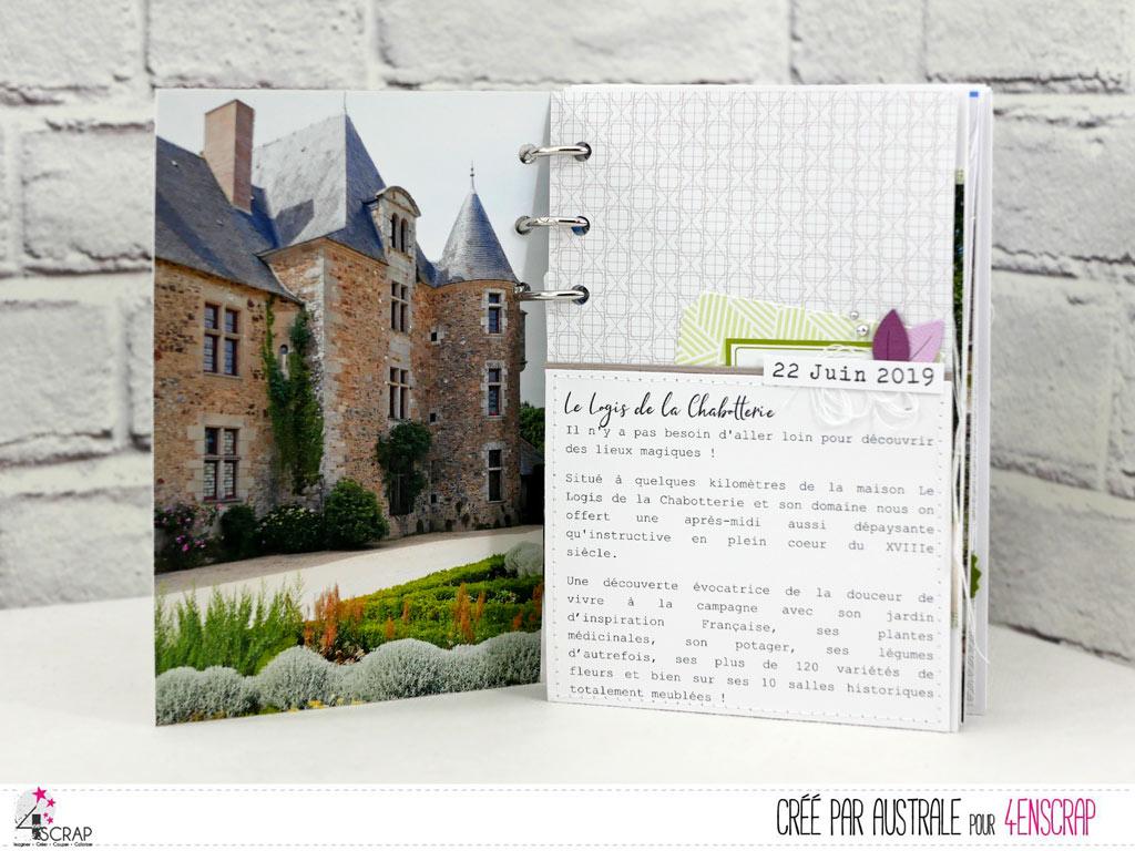 Album souvenir avec photos d'un week-end au Logis de la Chabotterie en Vendée et décorations en 4enscrap.