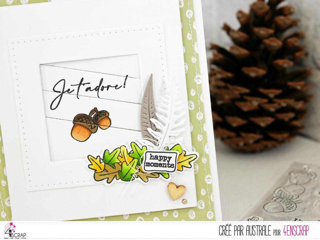 Carte à tirer avec petits écureuils et gland, feuillages, dans un combo de verts et gris.