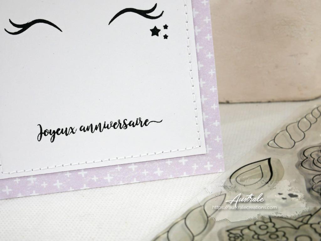 Carte pour anniversaire fillette avec fond rose et licorne
