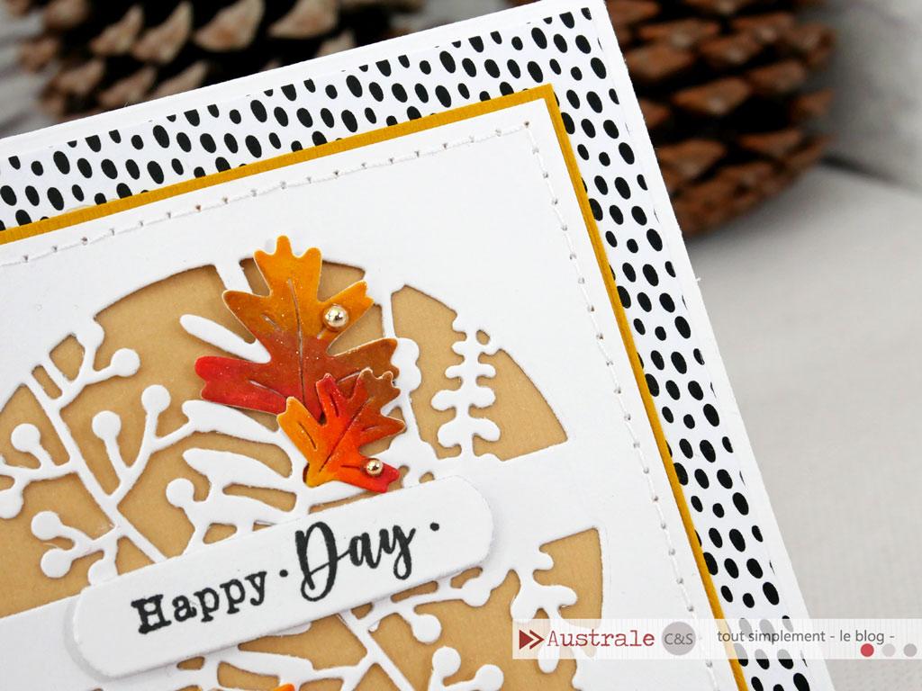 Carte d'automne avec fond en noir et blanc, feuilles d'automne mise en couleur aux Copic, transparence de saison, pour le nouveau défi c&s tout simplement le blog.