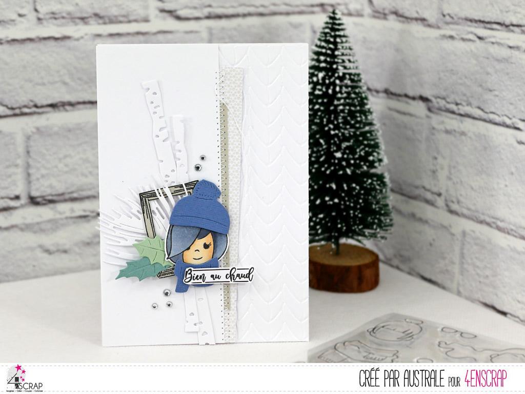 Carte d'hiver avec branches de bouleau, cadre, quelques feuillages et une adorable scrapgirl avec son bonnet et son écharpe.