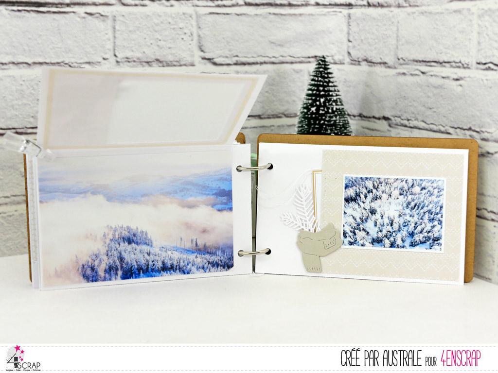 Album avec photos de montagne en hiver et couverture en bois gravé réalisé avec la nouvelle collection hiver de 4enscrap.
