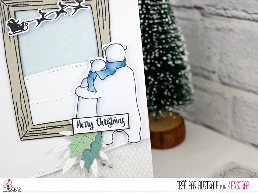 Carte de noël avec fond enneigé, cadre, un couple d'ours blancs, quelques feuillages et le traineau du père Noël.