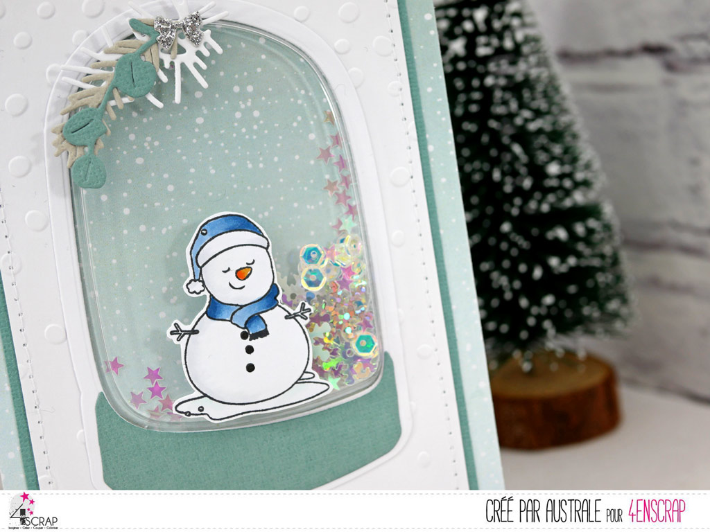 Carte à secouer avec bonhomme de neige et petite coque boule de neige de 4enscrap.
