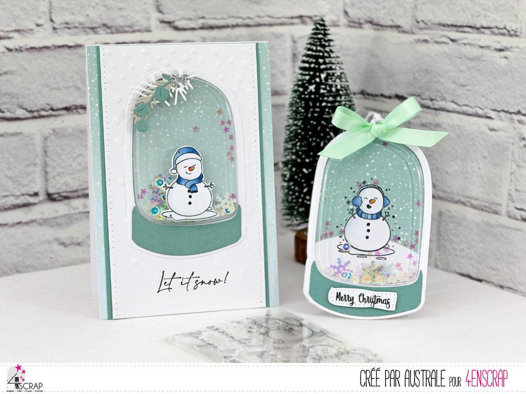 Carte et étiquette cadeau à secourer avec bonhomme de neige et petite coque boule de neige de 4enscrap.