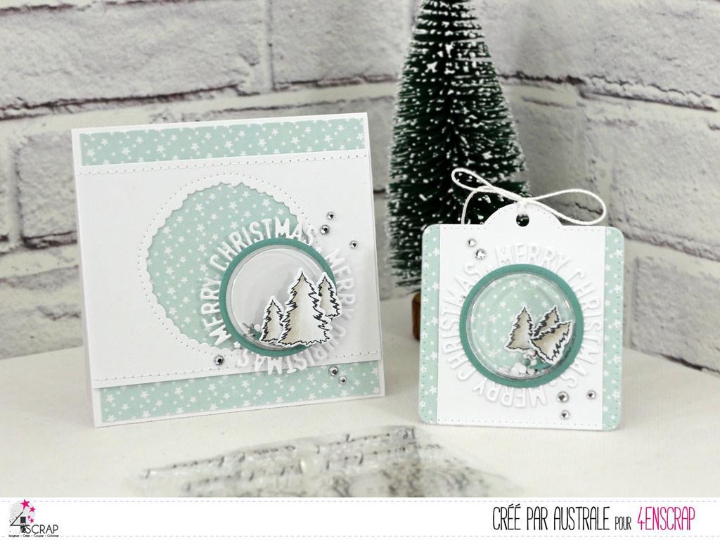 Carte de Noël et étiquette cadeau à secouer avec fond étoilé, petites coques rondes, sapins et découpe ronde merry christmas.