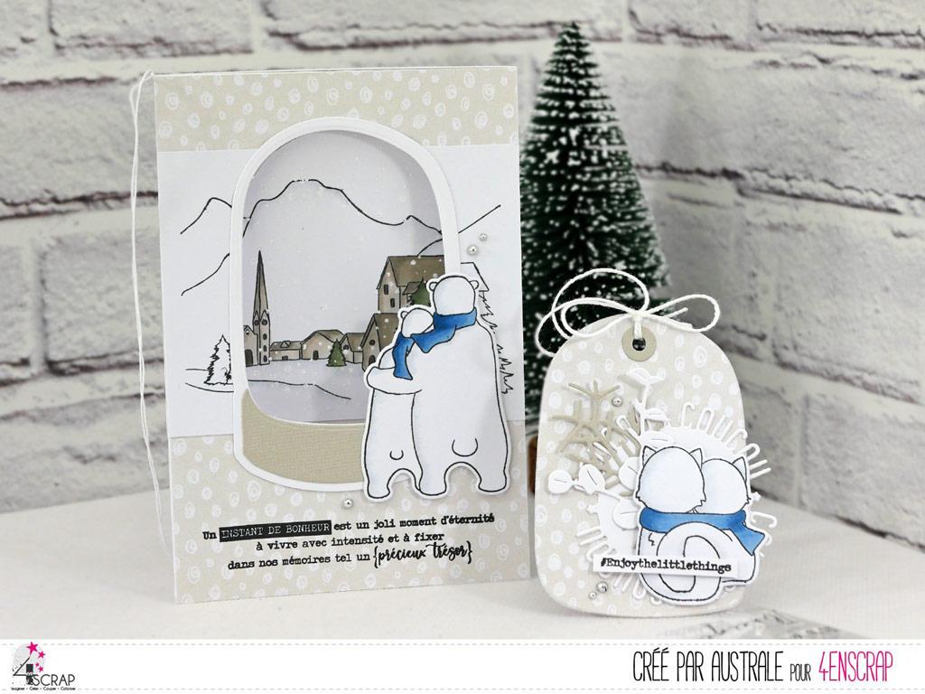 Carte et étiquette cadeau de Noël avec boule de neige sur paysage de montagne enneigé avec couple d'ours polaire.