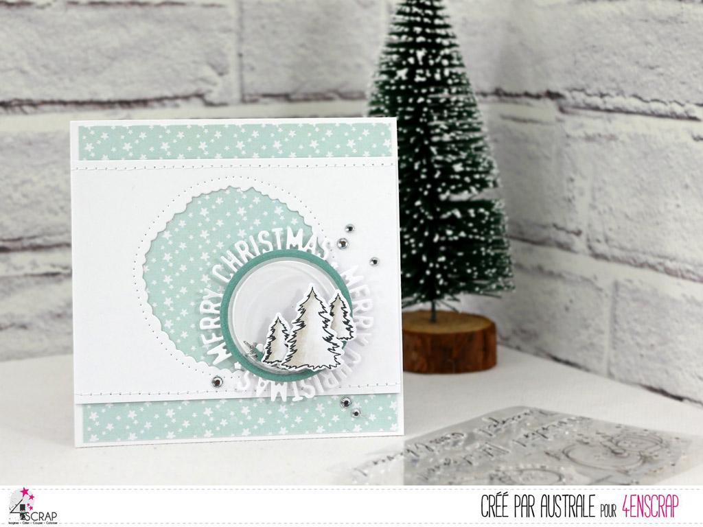Carte de Noël à secouer avec fond étoilé, petite coque ronde, sapins et découpe ronde merry christmas.