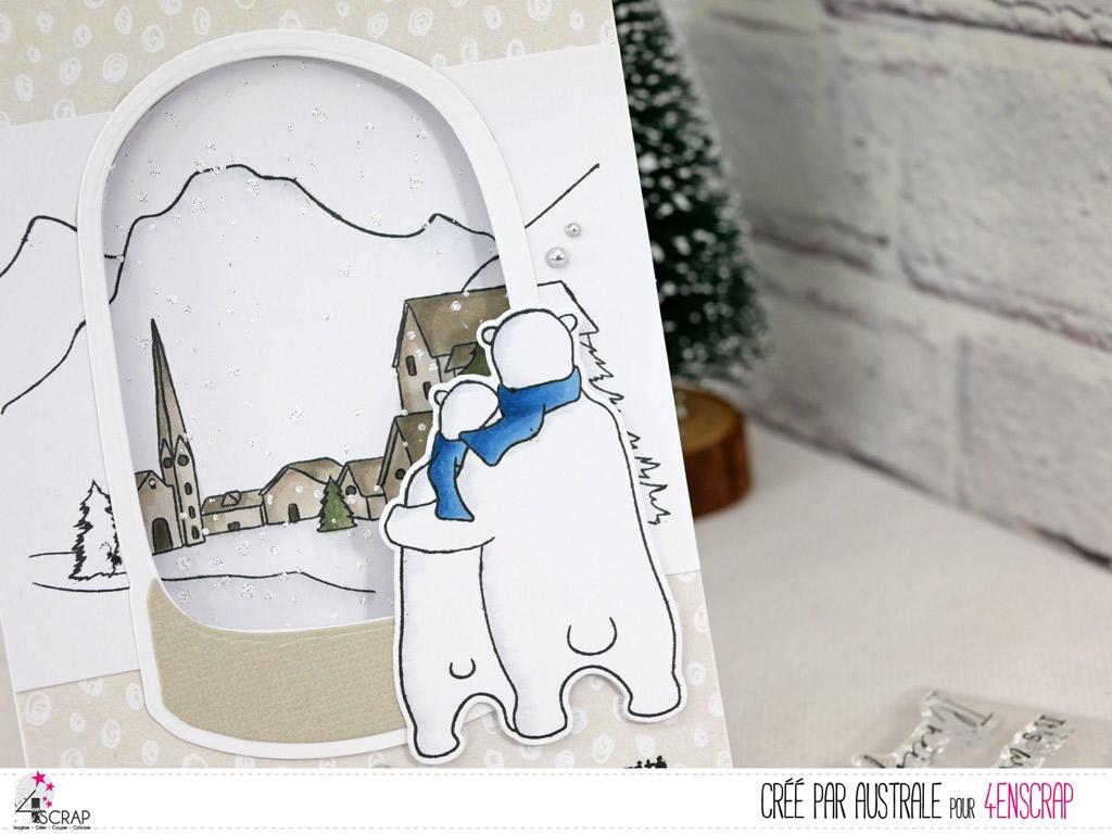 Carte de Noël avec boule de neige sur paysage de montagne enneigé avec couple d'ours polaire.
