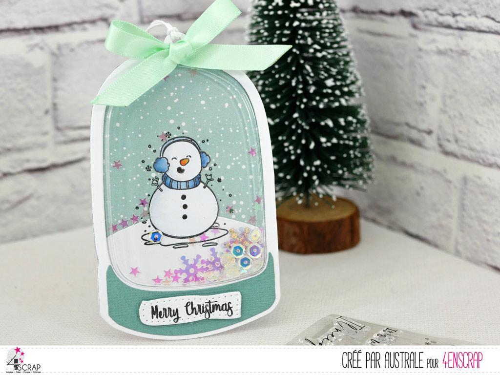 Etiquette cadeau à secourr avec bonhomme de neige et petite coque boule de neige de 4enscrap.