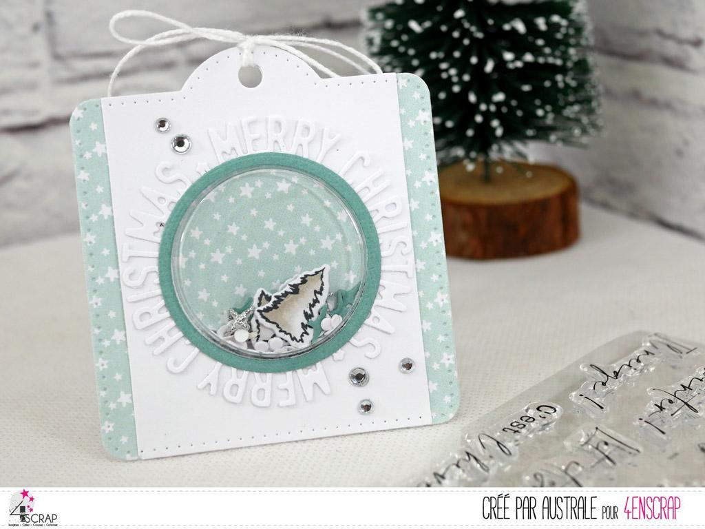 Etiquette cadeau de Noël à secouer avec fond étoilé, petite coque ronde, sapins et découpe ronde merry christmas.