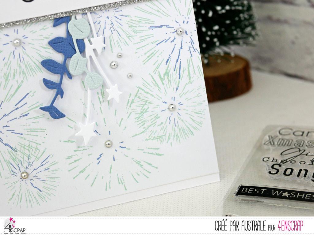 Carte de vœux pour la nouvelle année avec gros texte et fond feux d'artifices.