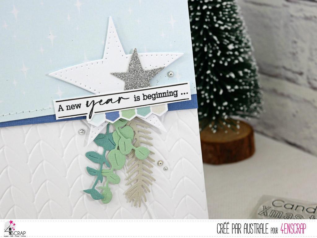 Carte de vœux en 4enscrap avec étoiles, feuillages et fond embossé.