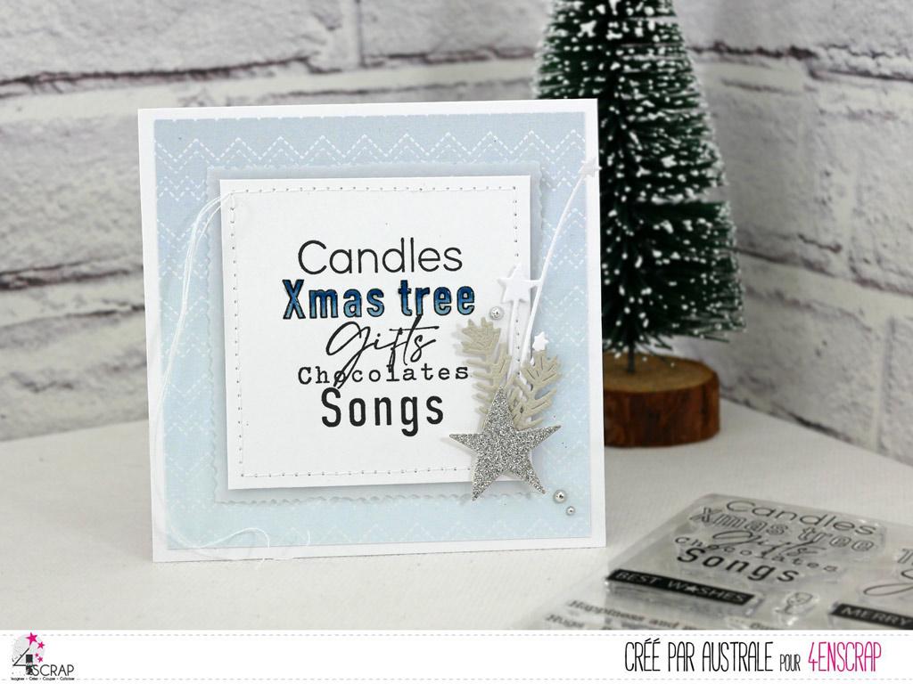Carte de Noel avec fond bleu et gros texte en anglais, étoile et feuillages.