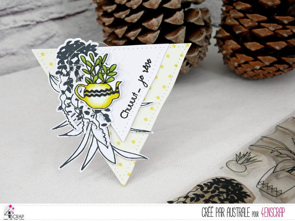 Tutoriel en vidéo youtube pour les ateliers de 4enscrap et pour a réalisation d'une carte et d'un marque page avec tampons feuillages et plantes grasses dans un combo de jaune et gris.