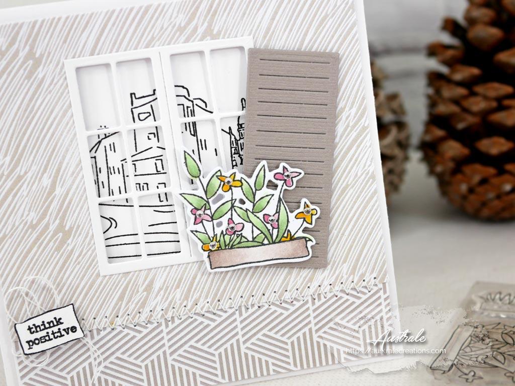 Cartes jumelles avec fenêtre et vue sur le Sacré Coeur, balconnoère et volet.