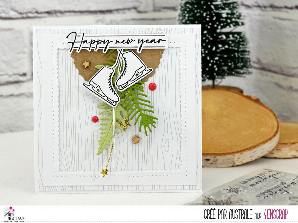 Cartes de voeux pour la nouvelle année avec patins à glace, feuillages, fond bois imprimé dans un combo en blanc, kraft, vert et rouge.