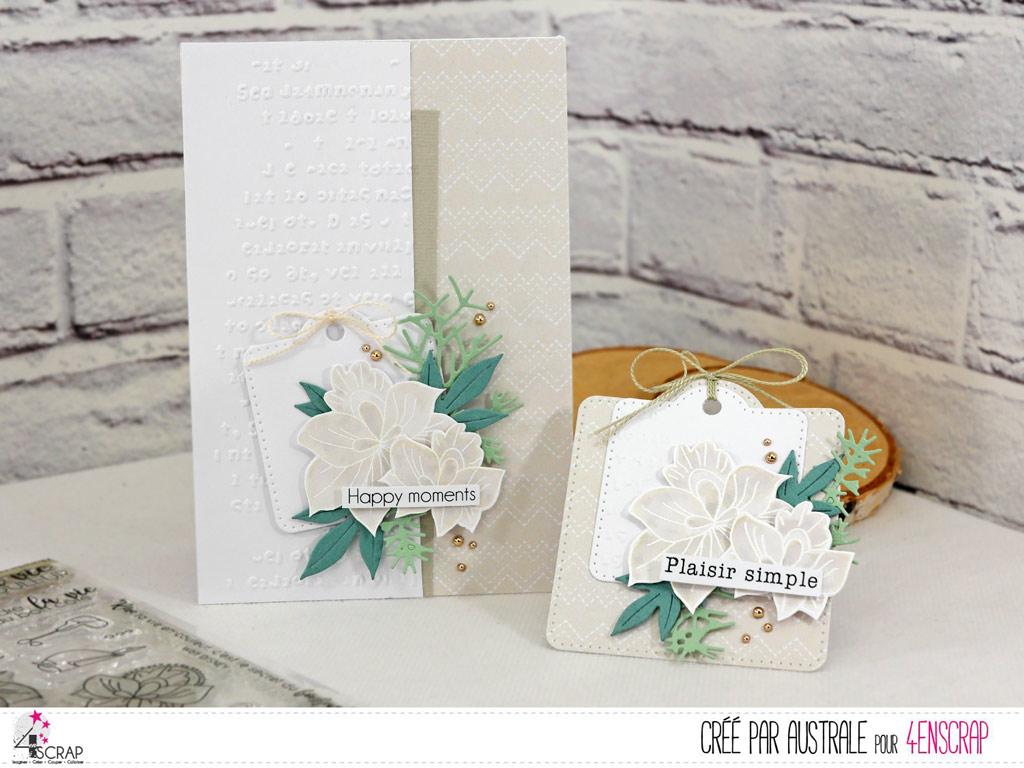 Carte et étiquette cadeau dans un combo en taupe; blanc et vert, feuilles, feuillages, étiquette et fond embossé.