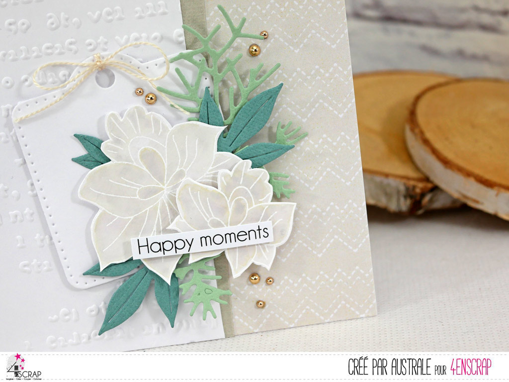 Carte dans un combo en taupe; blanc et vert, feuilles, feuillages, étiquette et fond embossé.