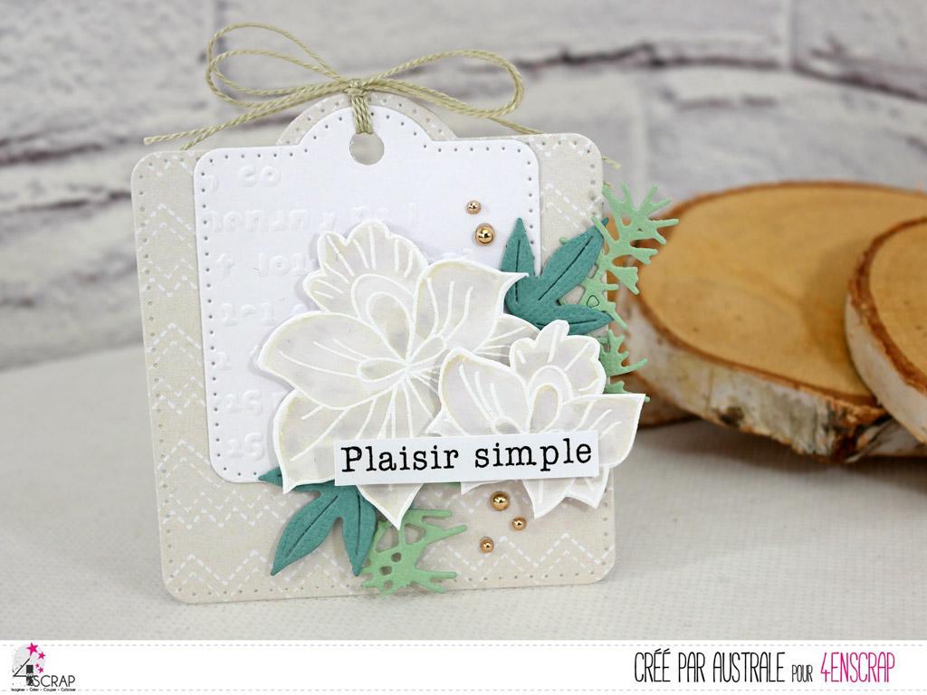 Etiquette cadeau dans un combo en taupe; blanc et vert, feuilles, feuillages, étiquette et fond embossé.