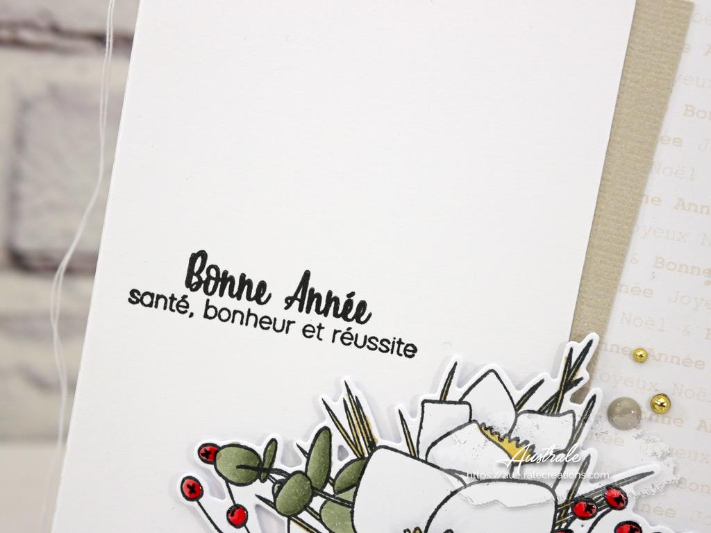 Carte de vœux pour la nouvelle année avec fond taupe et tampon Hellébores de 4enscrap.