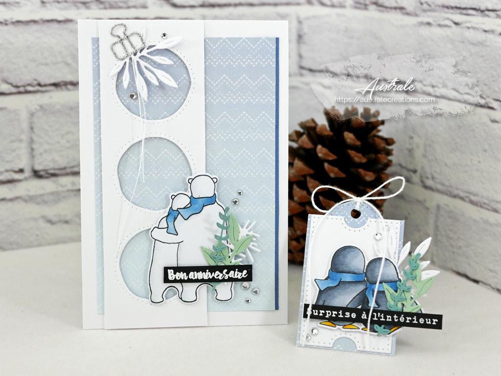 Carte et étiquette cadeau dans un combo en blanc, bleu et verts, ours et pingouins et quelques feuillages.