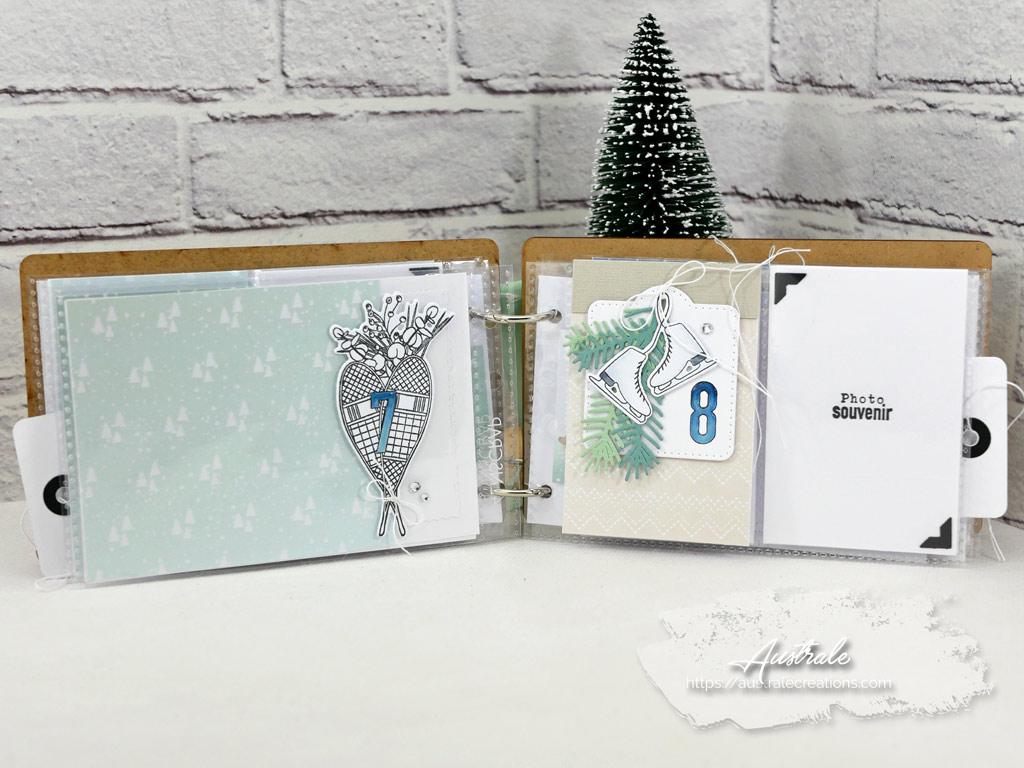 Carte et étiquette cadeau de Noël avec boule de neige sur paysage de montagne enneigé avec couple d'ours polaire.December Daily avec couverture en bois de 4enscrap.