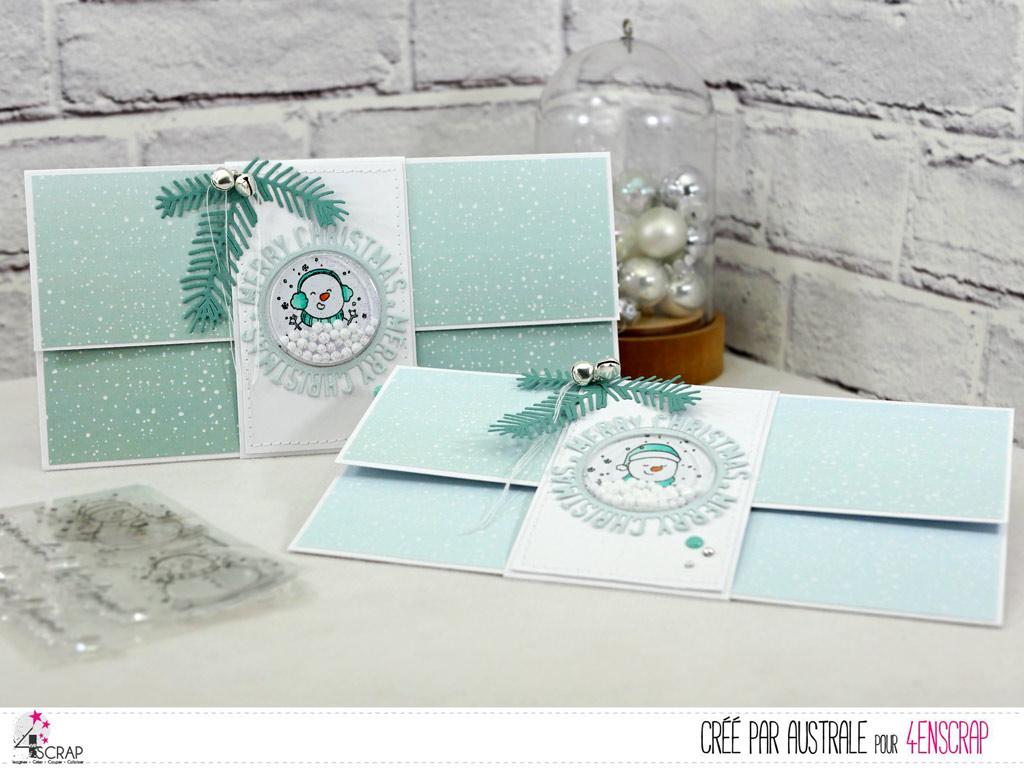 Carte porte chèque pour Noël avec bandeau à secouer, bonhomme de neige, feuillages et grelots.