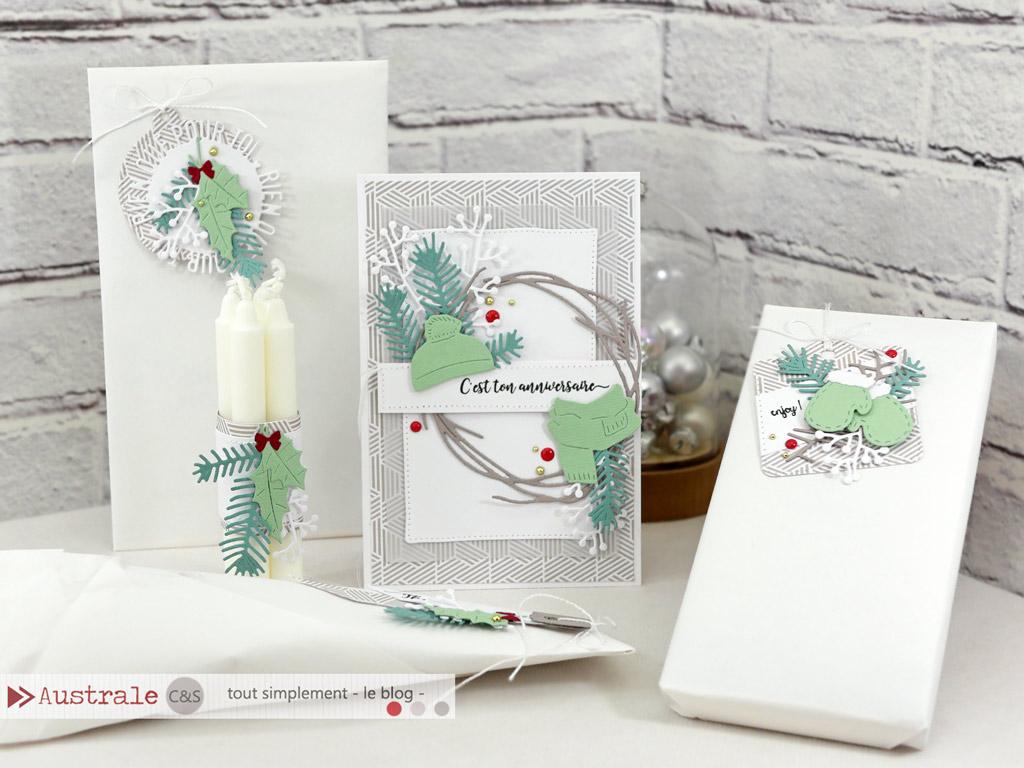 Ensemble composé d'une carte d'anniversaire, étiquettes cadeaux et bougies décorées dans un combo en taupe, verts et rouge dans un esprit cocooning, chalet, montagne.
