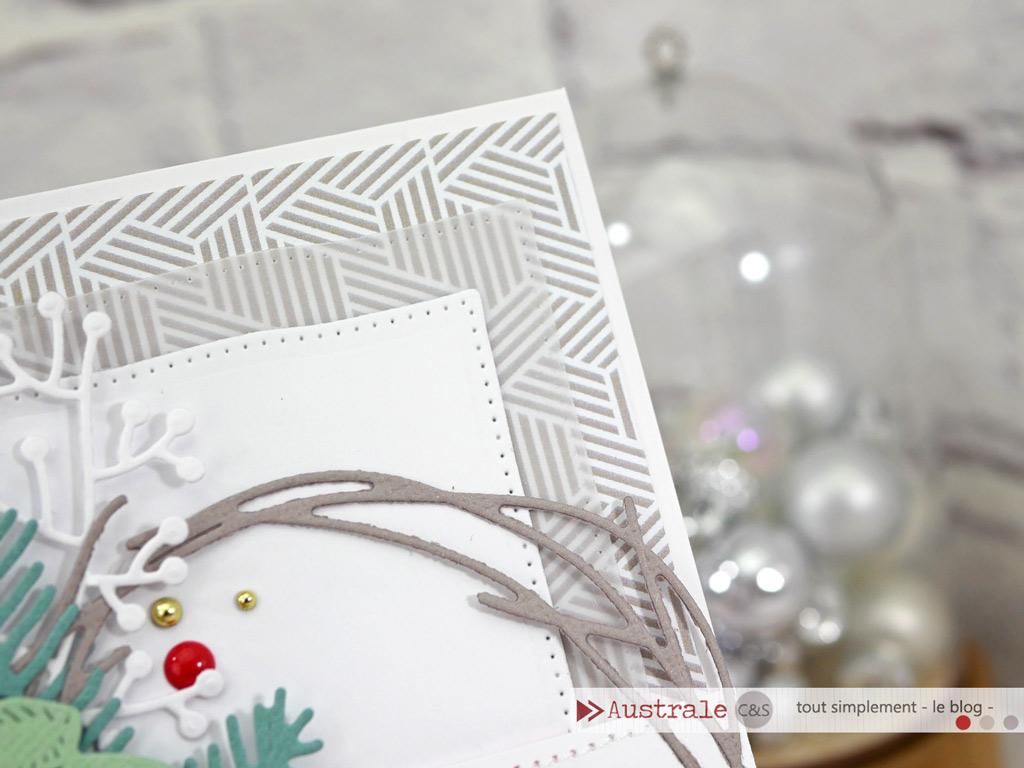 Carte d'anniversaire dans un combo de couleurs en taupe, nuances de verts et rouge, avec feuillages d'hiver, bonnet et écharpe.